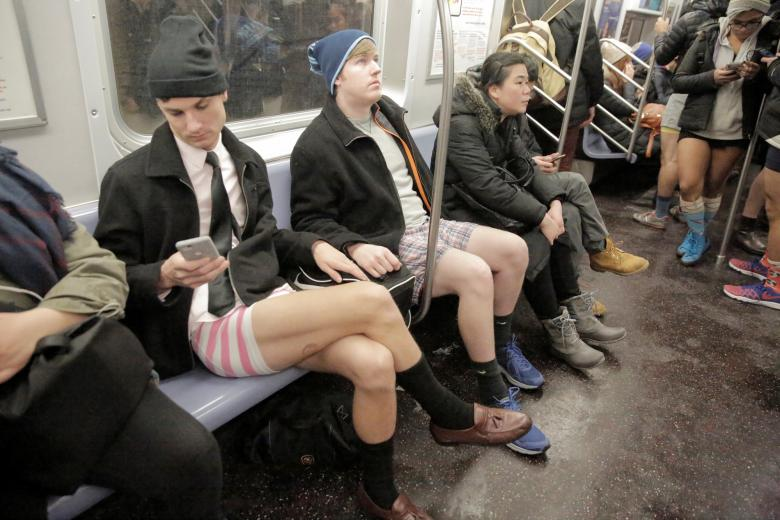 "People participate in the annual ""No Pants Subway Ride"" in New York City, New York"